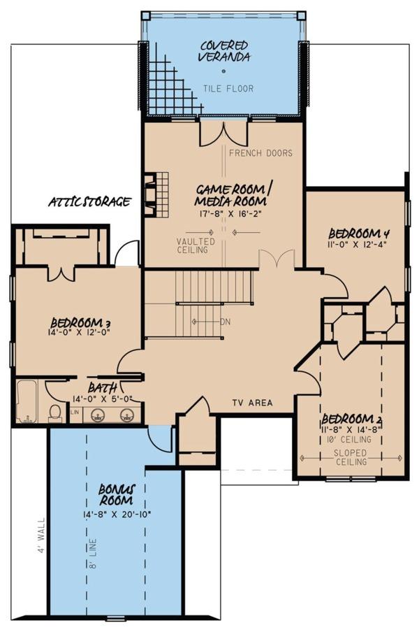 European Floor Plan - Upper Floor Plan #923-57