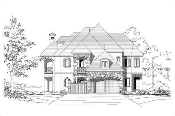 European Exterior - Front Elevation Plan #411-696