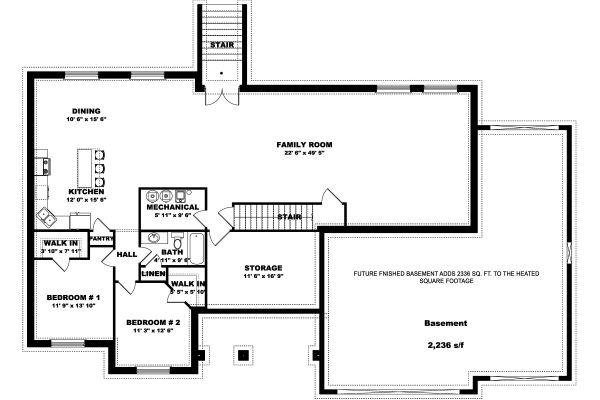 Farmhouse Floor Plan - Lower Floor Plan Plan #1060-47