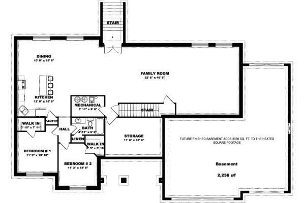 Farmhouse Floor Plan - Lower Floor Plan #1060-47