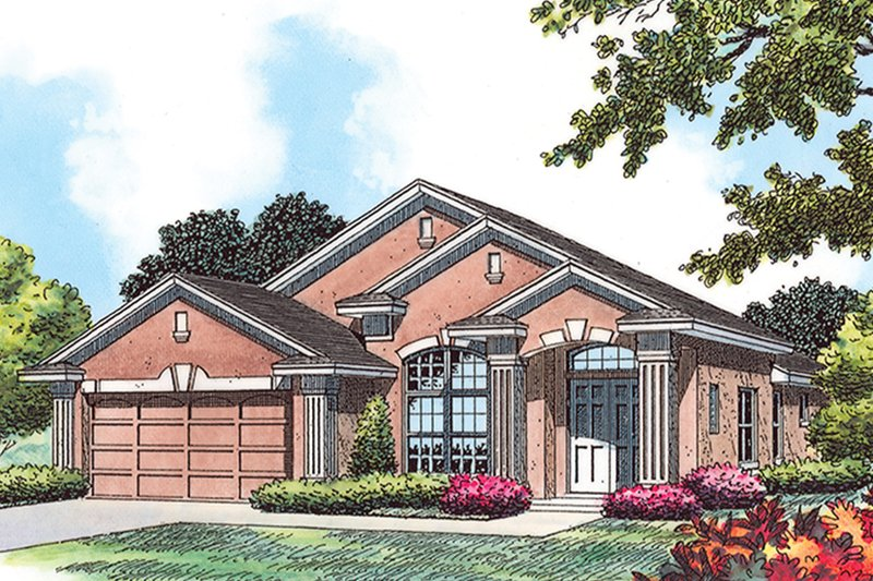 Architectural House Design - Mediterranean Exterior - Front Elevation Plan #417-854
