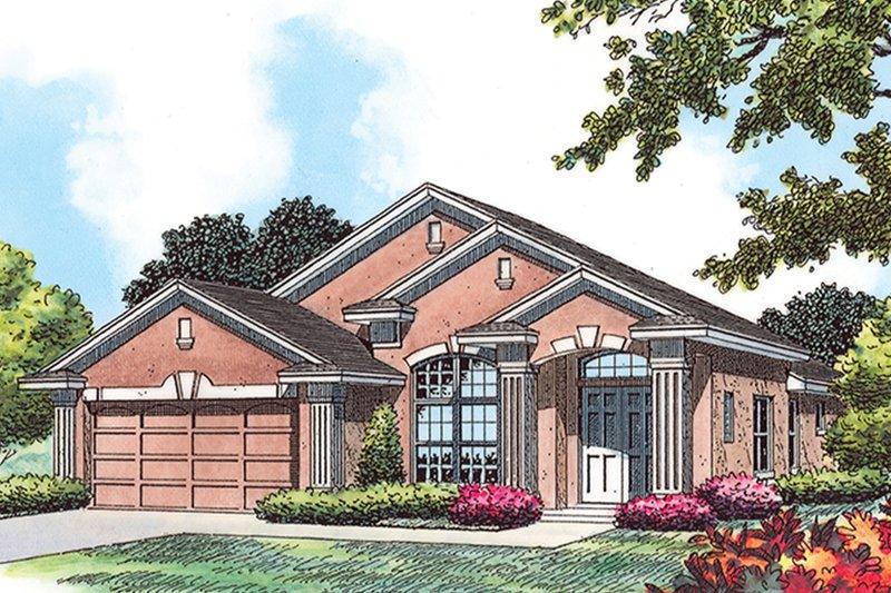 House Plan Design - Mediterranean Exterior - Front Elevation Plan #417-854