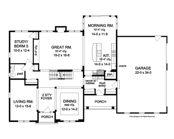 Colonial Floor Plan - Main Floor Plan Plan #1010-66