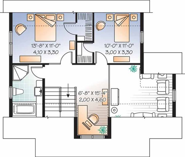 Country Floor Plan - Upper Floor Plan Plan #23-2471
