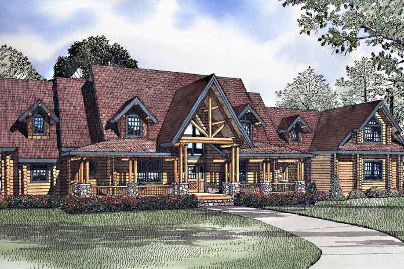 Log Exterior - Front Elevation Plan #17-3138 - Houseplans.com