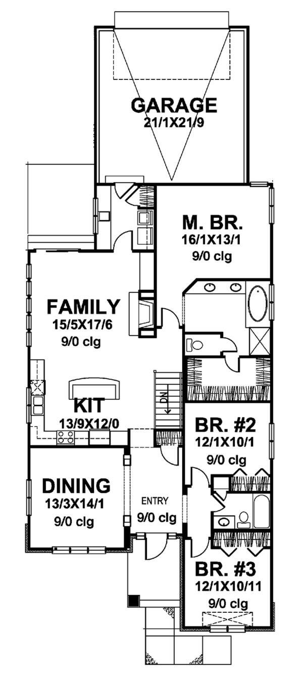 Craftsman Floor Plan - Main Floor Plan Plan #320-839