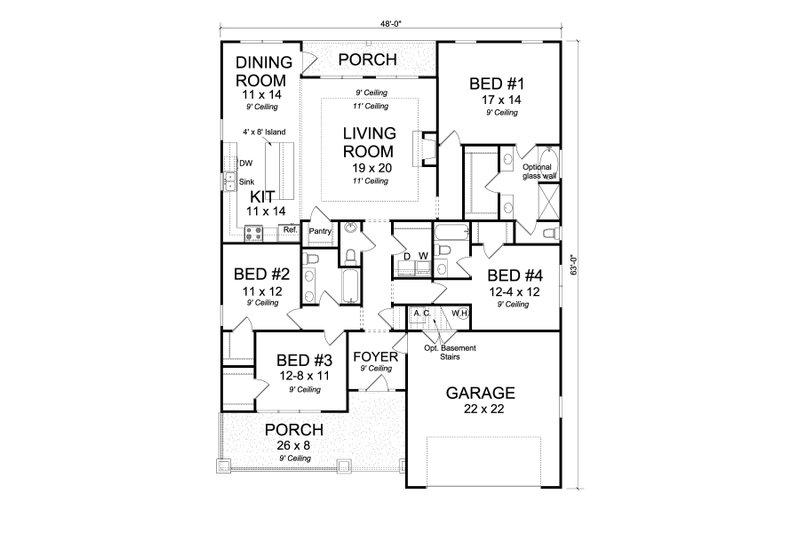 Cottage Floor Plan - Main Floor Plan Plan #513-2174