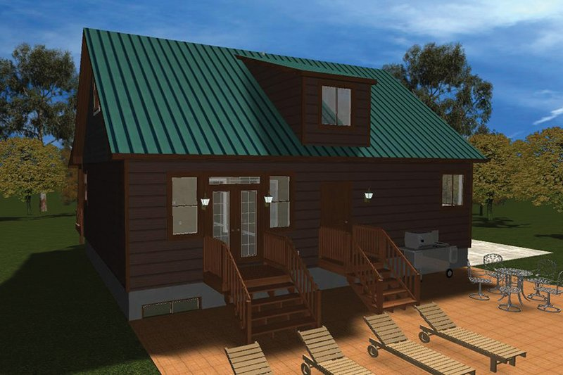 Cabin Exterior - Rear Elevation Plan #1060-24 - Houseplans.com
