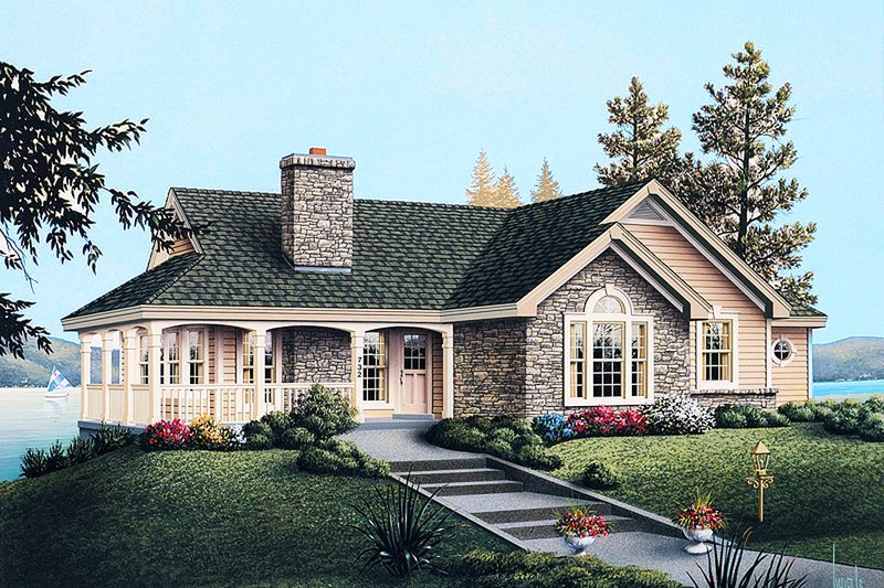 Traditional Style House Plan - 2 Beds 2 Baths 1922 Sq/Ft Plan #57-185 Exterior - Front Elevation