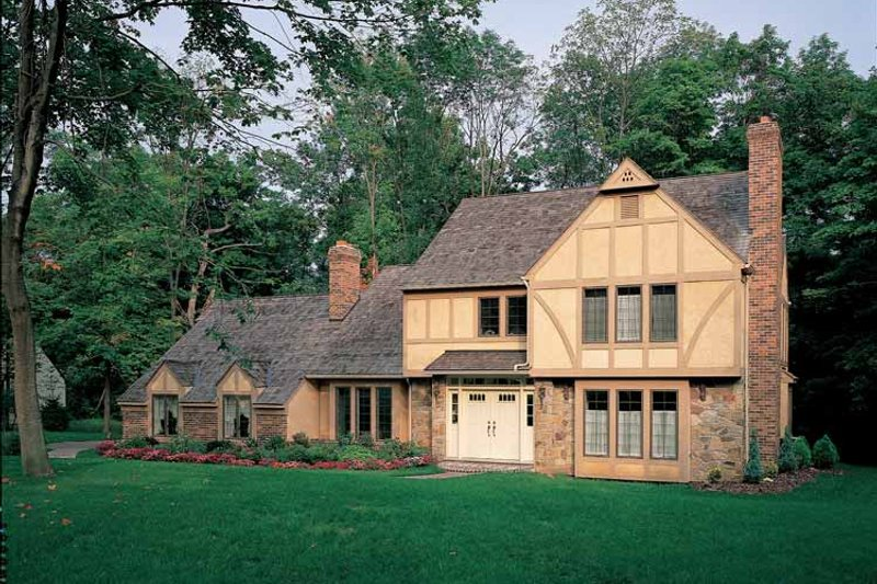 House Blueprint - Tudor Exterior - Front Elevation Plan #72-755