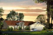 Adobe / Southwestern Style House Plan - 4 Beds 3 Baths 2969 Sq/Ft Plan #1-1204 Exterior - Front Elevation