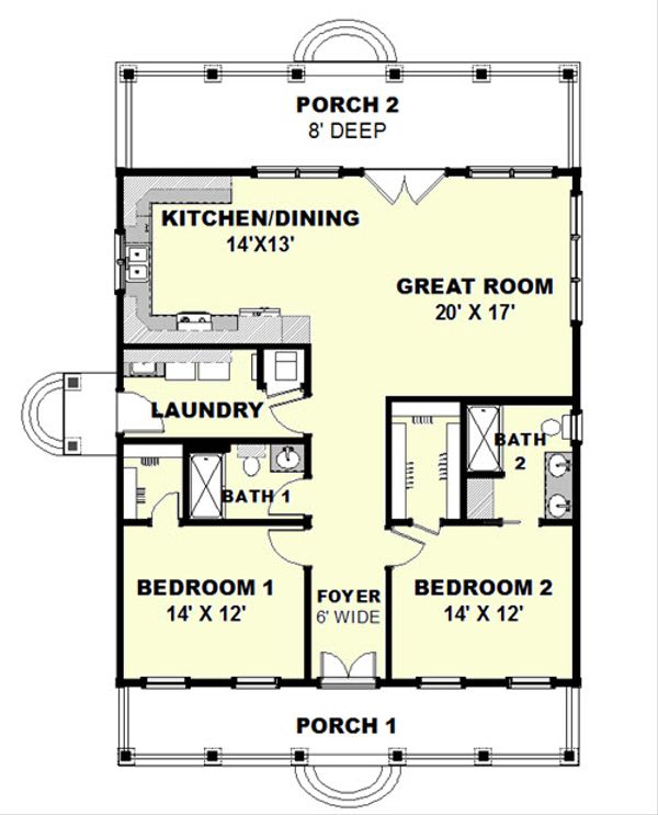 Cottage Floor Plan - Main Floor Plan Plan #44-165