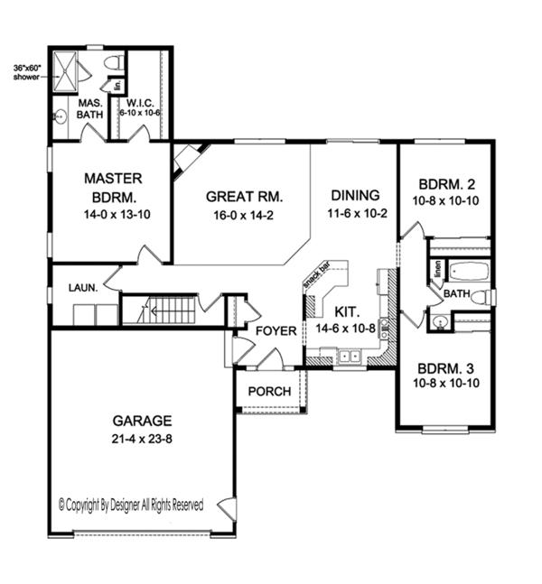 House Plan Design - Ranch Floor Plan - Main Floor Plan #1010-147