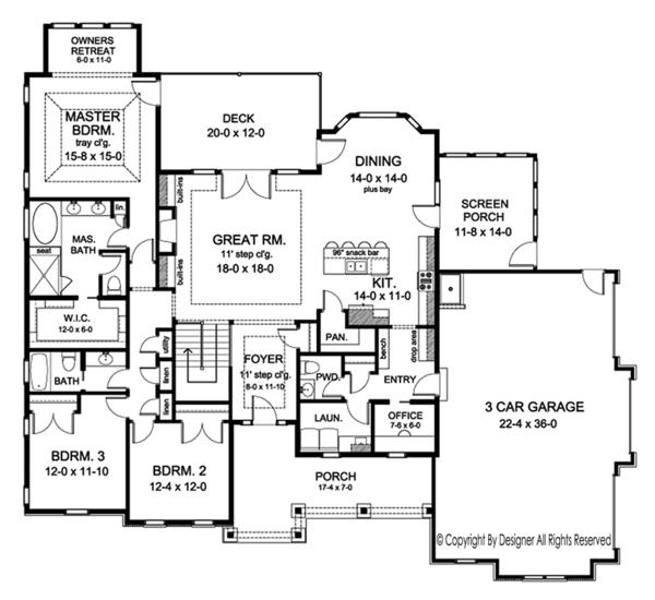 Ranch Floor Plan - Main Floor Plan Plan #1010-195