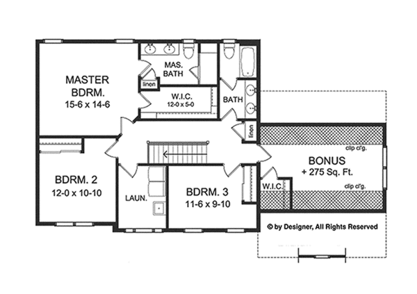 Colonial Floor Plan - Upper Floor Plan Plan #1010-120