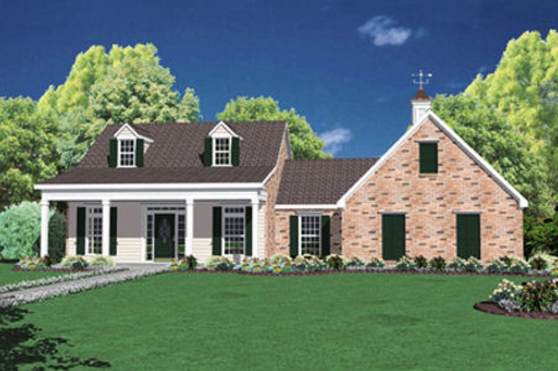 Southern Style House Plan - 3 Beds 2 Baths 1653 Sq/Ft Plan #36-425 Exterior - Front Elevation