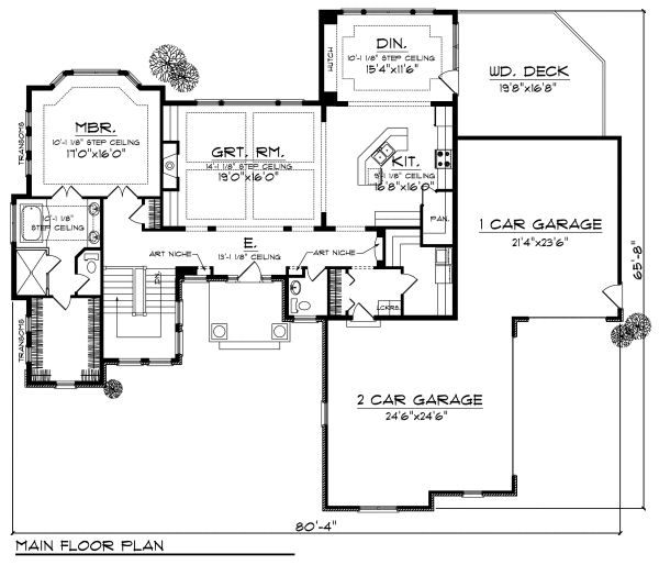 European Floor Plan - Main Floor Plan Plan #70-884