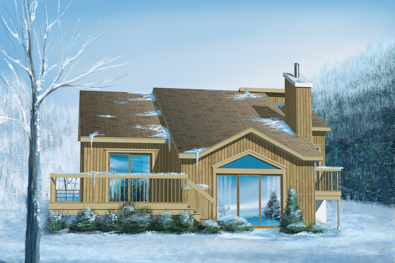 Cabin Style House Plan - 3 Beds 1 Baths 1220 Sq/Ft Plan #25-1117 Exterior - Front Elevation
