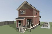 Colonial Style House Plan - 2 Beds 2.5 Baths 1042 Sq/Ft Plan #79-133 Exterior - Other Elevation