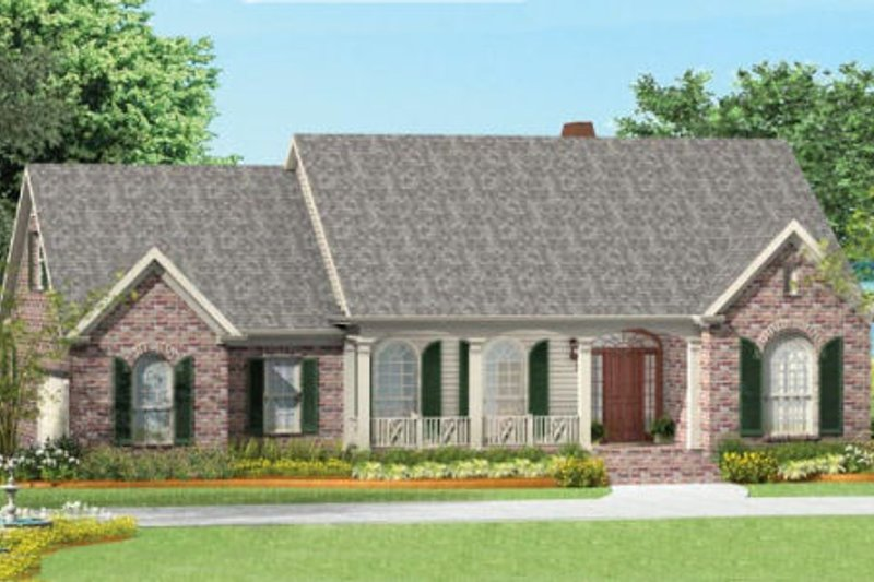 Southern Exterior - Front Elevation Plan #406-9620
