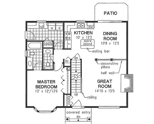 House Blueprint - Cottage Floor Plan - Main Floor Plan #18-287