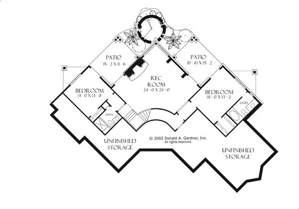 European Floor Plan - Lower Floor Plan Plan #929-941