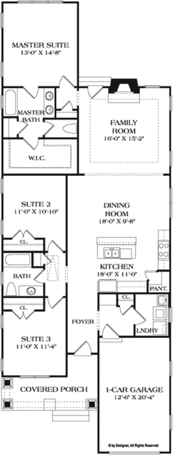 Craftsman Floor Plan - Main Floor Plan Plan #453-618