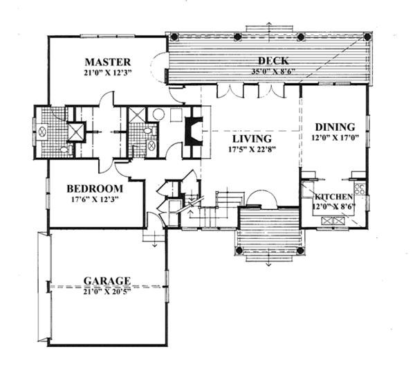 Country Floor Plan - Main Floor Plan Plan #961-1