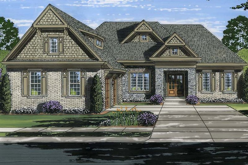 European Exterior - Front Elevation Plan #46-854
