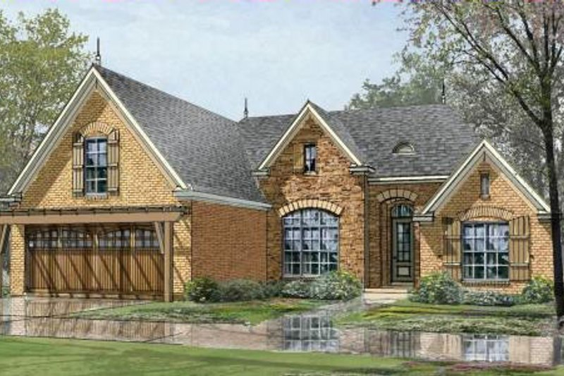 European Style House Plan - 3 Beds 2 Baths 1756 Sq/Ft Plan #424-58 Exterior - Front Elevation