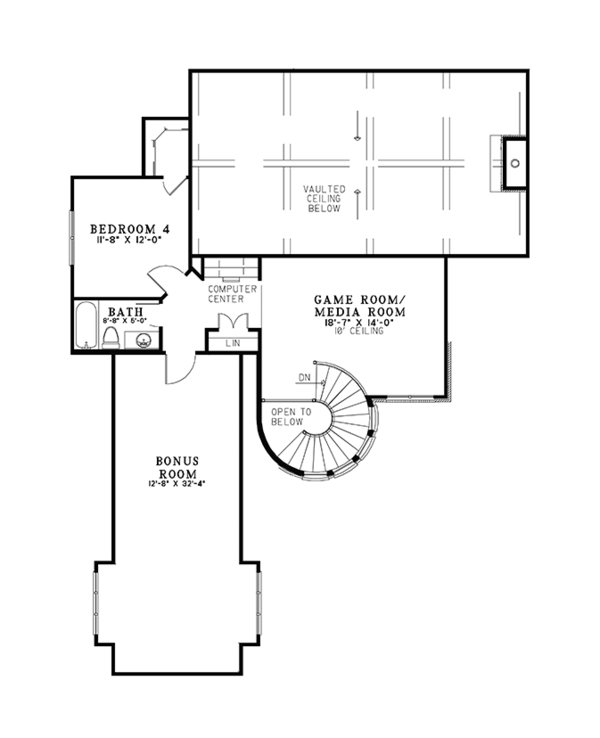 European Floor Plan - Upper Floor Plan Plan #17-3366