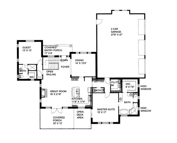 Craftsman Floor Plan - Main Floor Plan Plan #117-858