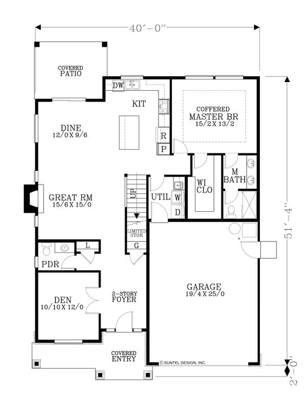 Craftsman Floor Plan - Main Floor Plan Plan #53-570