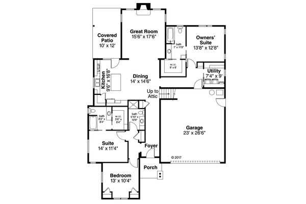 Craftsman Floor Plan - Main Floor Plan Plan #124-1056