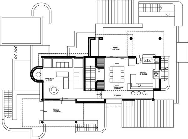 Contemporary Floor Plan - Upper Floor Plan Plan #912-1