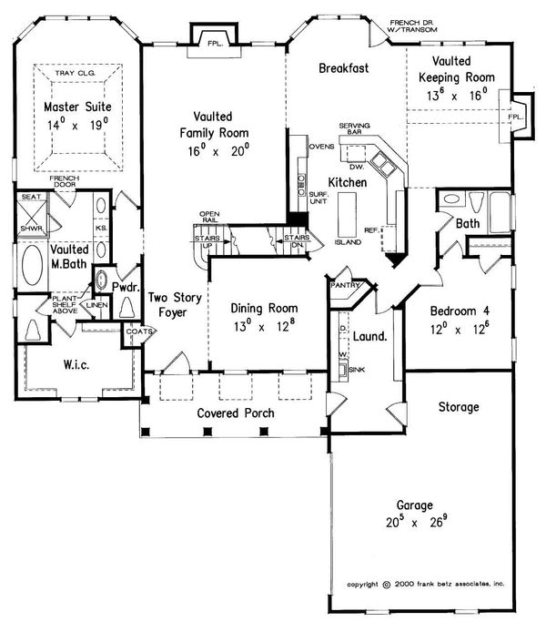 Country Style House Plan - 4 Beds 3.5 Baths 3025 Sq/Ft Plan #927-16 Floor Plan - Main Floor Plan