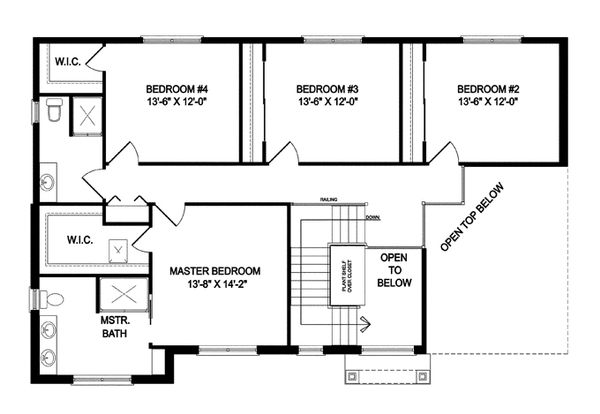 Traditional Floor Plan - Upper Floor Plan Plan #1057-5
