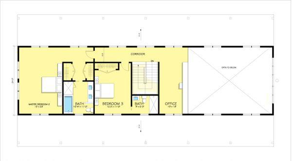 Modern Farmhouse style plan, modern design home, upper level floor plan