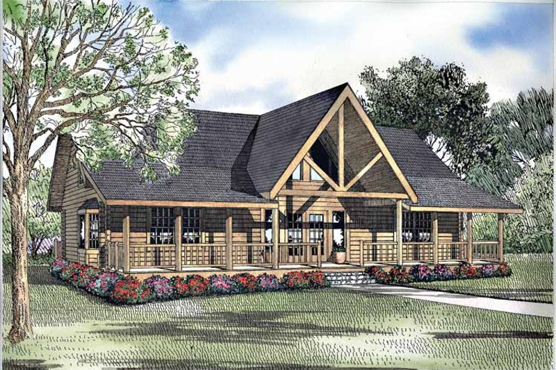 Log Exterior - Front Elevation Plan #17-3078 - Houseplans.com