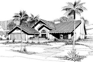Mediterranean Exterior - Front Elevation Plan #305-102