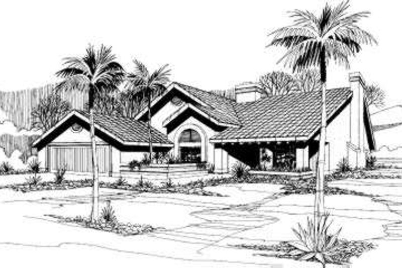 Mediterranean Style House Plan - 3 Beds 2 Baths 1642 Sq/Ft Plan #305-102 Exterior - Front Elevation