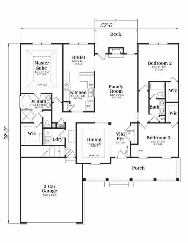 Ranch Floor Plan - Main Floor Plan Plan #419-101