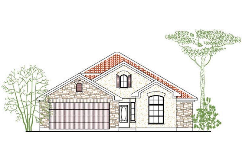 Mediterranean Style House Plan - 3 Beds 2 Baths 1248 Sq/Ft Plan #80-133 Exterior - Front Elevation