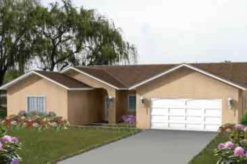 Mediterranean Style House Plan - 4 Beds 2 Baths 1848 Sq/Ft Plan #1-706 Exterior - Front Elevation