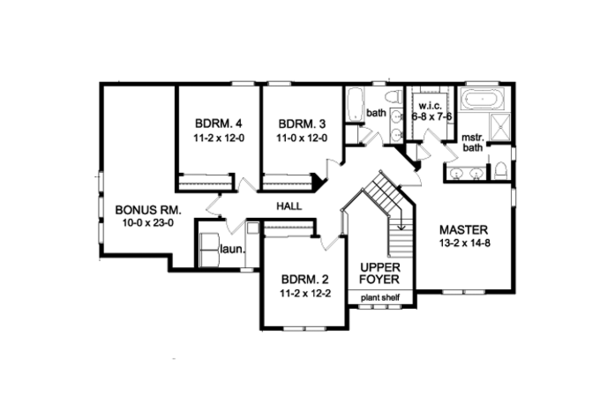 Craftsman Floor Plan - Upper Floor Plan Plan #1010-93
