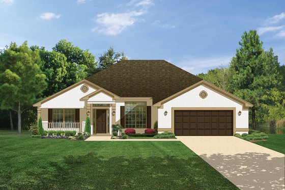 Ranch Exterior - Front Elevation Plan #1058-28