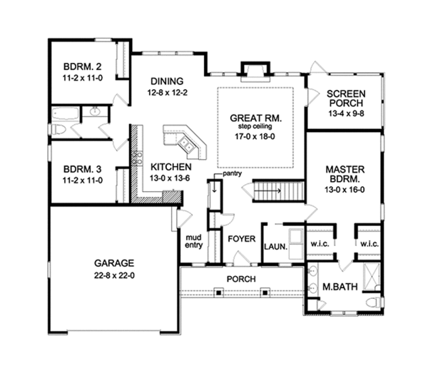 Ranch Floor Plan - Main Floor Plan Plan #1010-103