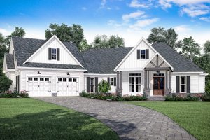Dream House Plan - Farmhouse Exterior - Front Elevation Plan #430-166