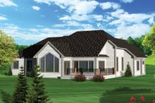 House Plan Design - European Exterior - Rear Elevation Plan #70-1056