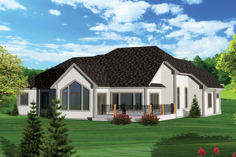 European Exterior - Rear Elevation Plan #70-1056 - Houseplans.com